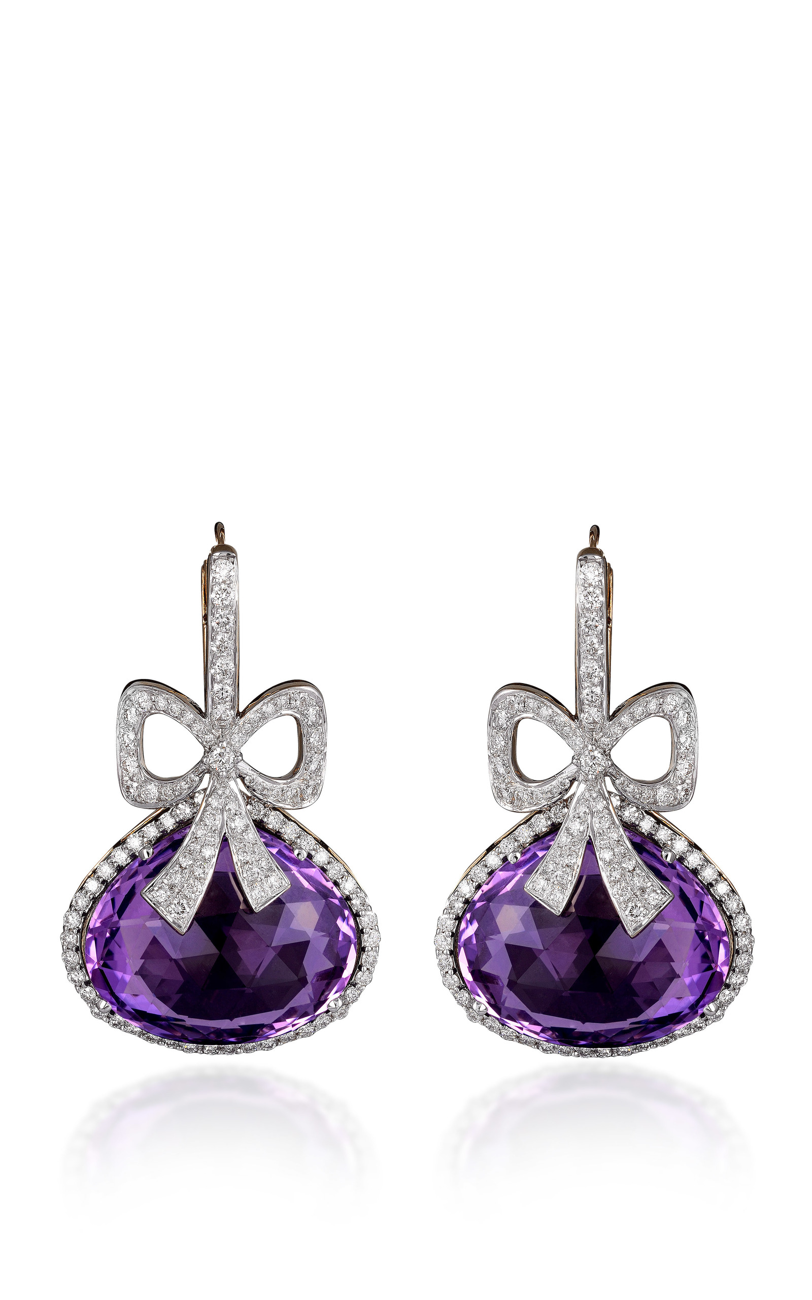 Amethyst and diamond earrings by farah khan fine moda for Fine jewelry diamond pendants