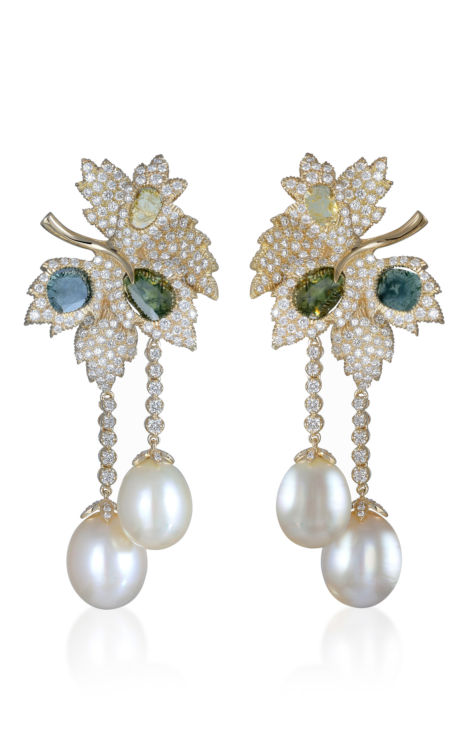 Pearl and diamond earrings by farah khan fine jewelry for Fine jewelry diamond pendants