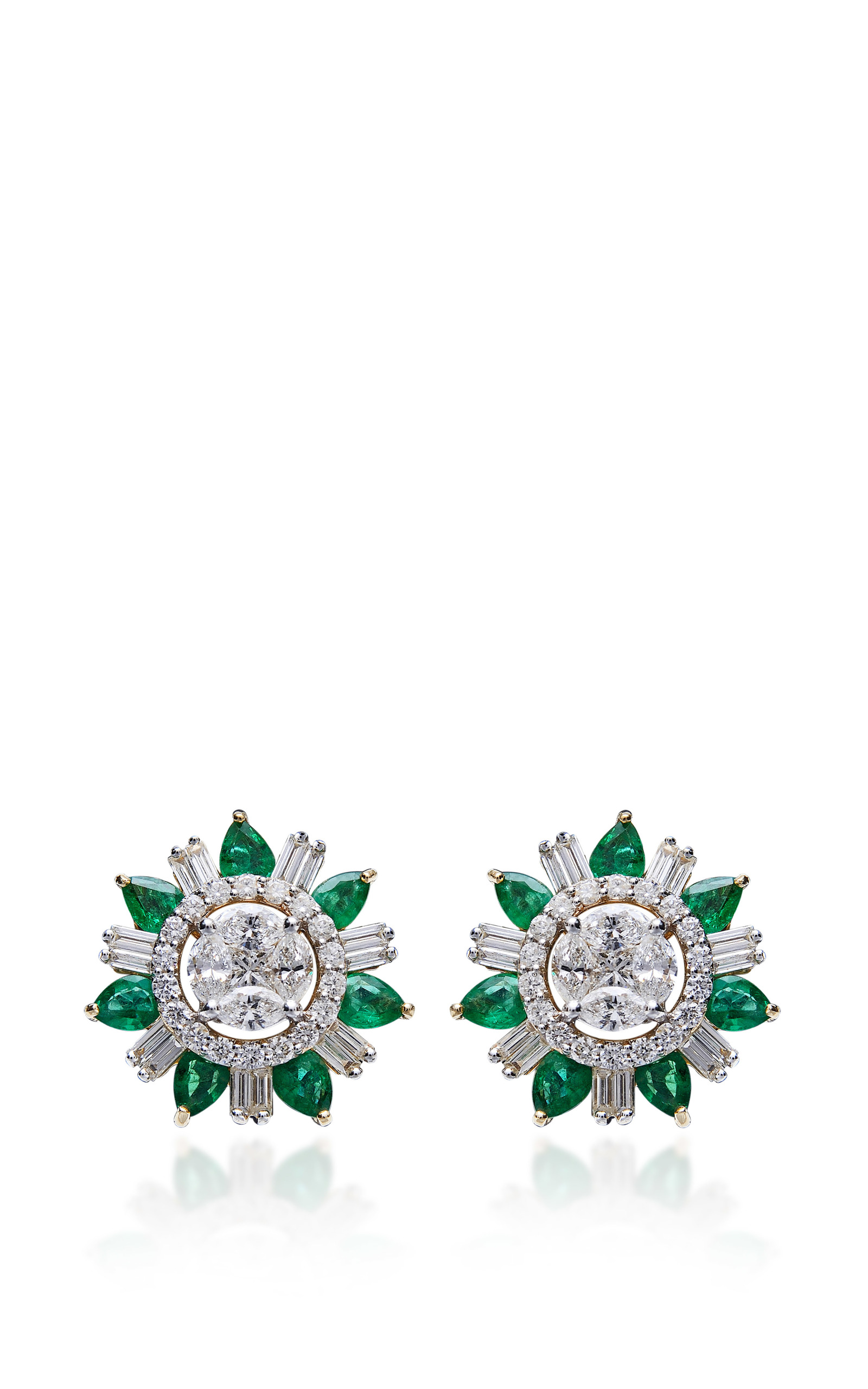 Emerald and diamond stud earrings by farah khan fine for Fine jewelry diamond pendants