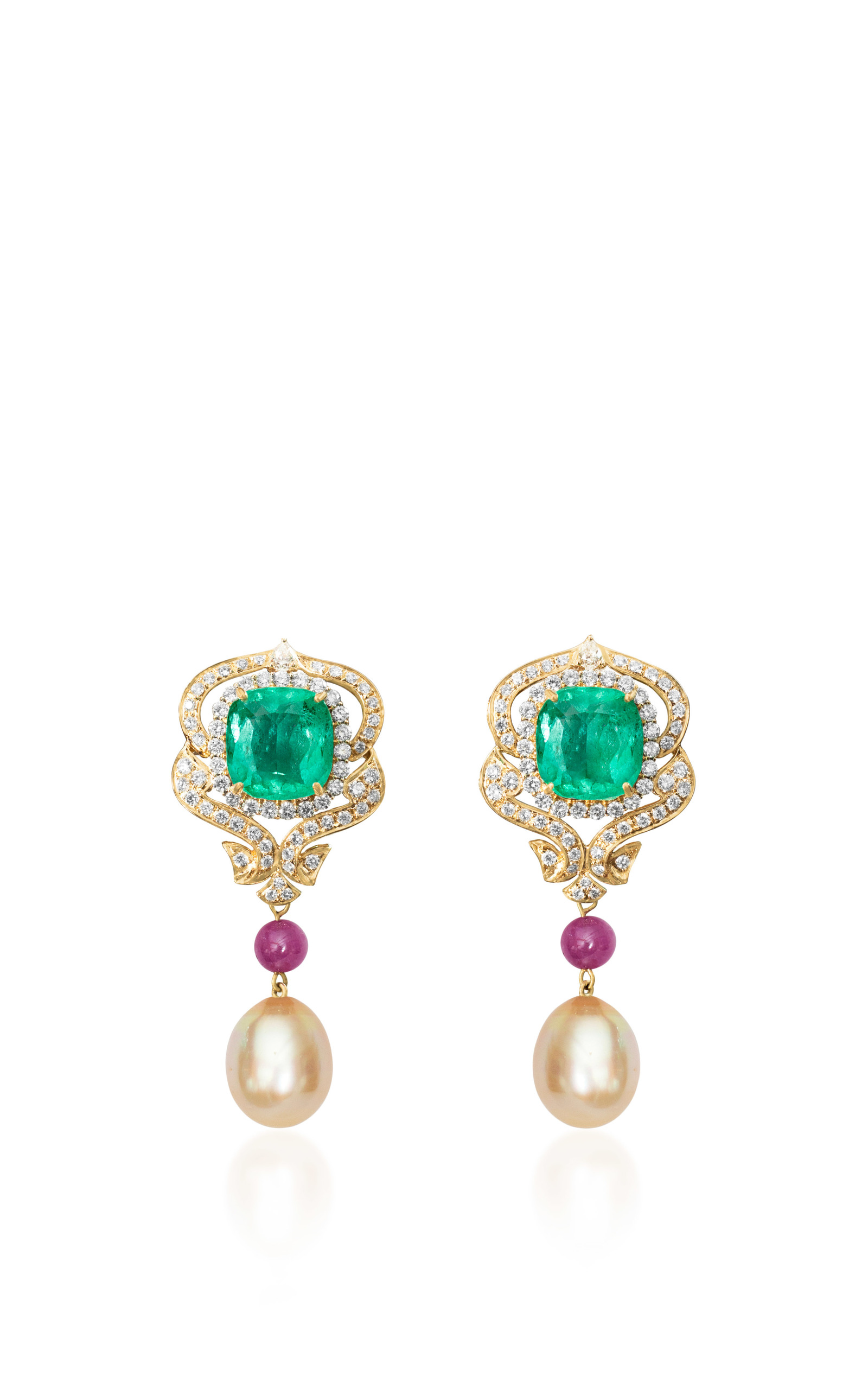 Regal Emerald Earring by Farah Khan Fine Jewelry | Moda Operandi