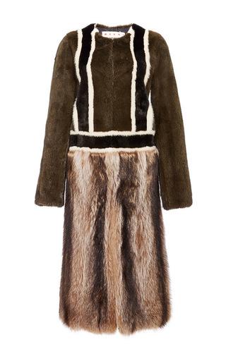 Medium marni brown colorblock mink fur coat