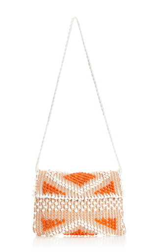 Medium antonello white mo exclusive suni diamond clutch in ivory orange nut