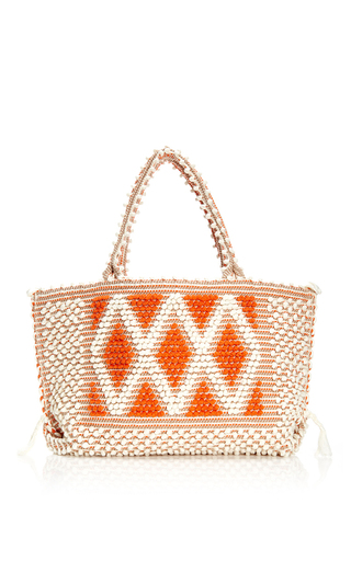 M'o Exclusive Medium Capriccioli Diamond Tote In Ivory And Orange by ANTONELLO Now Available on Moda Operandi