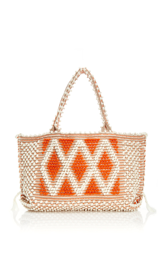 Medium antonello white mo exclusive medium capriccioli diamond tote in ivory and orange