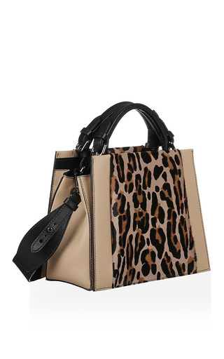 Small Leopard Print Goatskin Top Handle Bag by