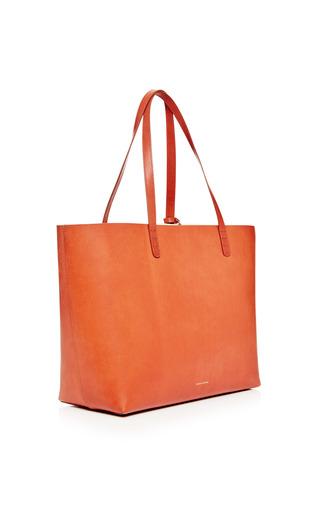 Large Coated Leather Tote In Brandy With Cleo Interior by MANSUR GAVRIEL Now Available on Moda Operandi