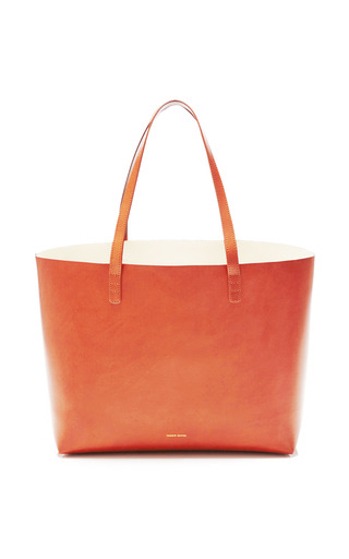 Medium mansur gavriel brown large coated leather tote in brandy with cleo interior 2