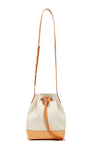 Mini Canvas Bucket Bag In Creme With Creme Interior by MANSUR GAVRIEL Now Available on Moda Operandi