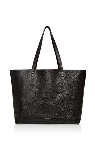 Medium mansur gavriel black tumble leather tote in black 2