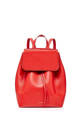 Medium mansur gavriel red calf leather backpack in flamma 2