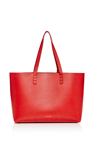 Medium mansur gavriel red calf leather small tote in flamma with flamma interior 2
