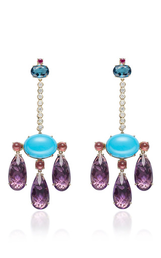 Medium abellan multi a one of a kind pair of diamond amethyst turquoise chandelier earrings