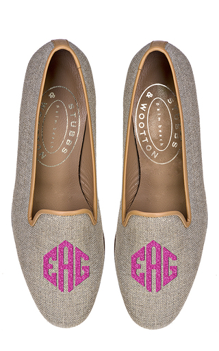 Medium stubbs wootton brown stubbs and wootton linen loafer with neon pink monogram