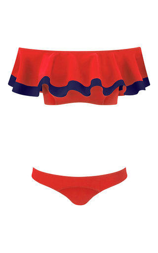Medium lisa marie fernandez red mira red bonded bikini with navy trim