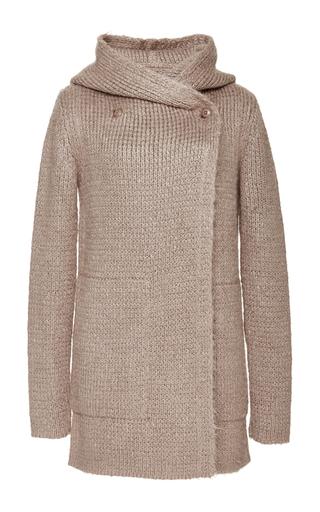Medium rick owens pink knit hooded biker coat