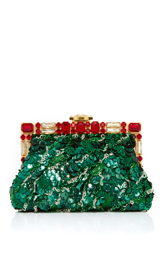 Medium dolce gabbana green embellished rose clutch with chain strap