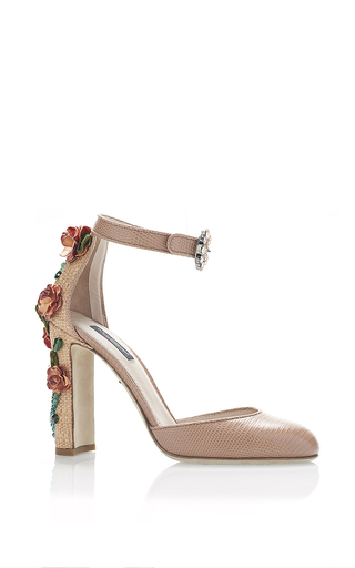 Medium dolce gabbana pink rosa printed iguana and raffia floral decal heels