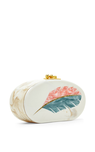 Feather Motif Oval Edie Clutch by EDIE PARKER Now Available on Moda Operandi
