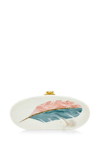 Medium edie parker off white feather motif oval edie clutch
