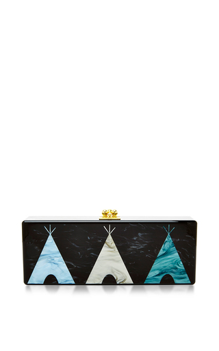 Medium edie parker black teepee motif rectangular flavia clutch