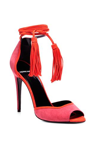 Medium pierre hardy coral majorelle pink fringe heeled sandals