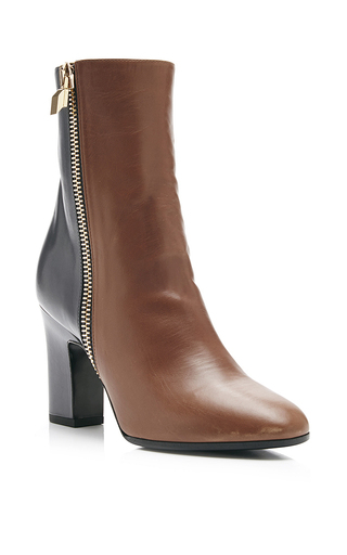 Tan Tom Bi Color Heeled Zip Boots by PIERRE HARDY Now Available on Moda Operandi
