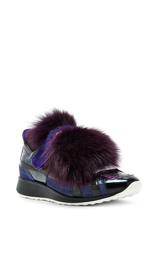 Medium pierre hardy purple purple leather fur and snakeskin running sneakers