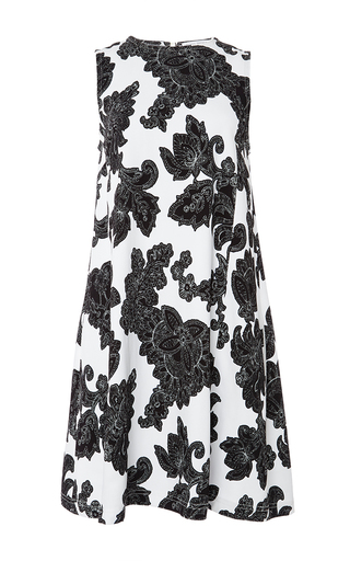 Medium tanya taylor white black and white a line sleeveless dress