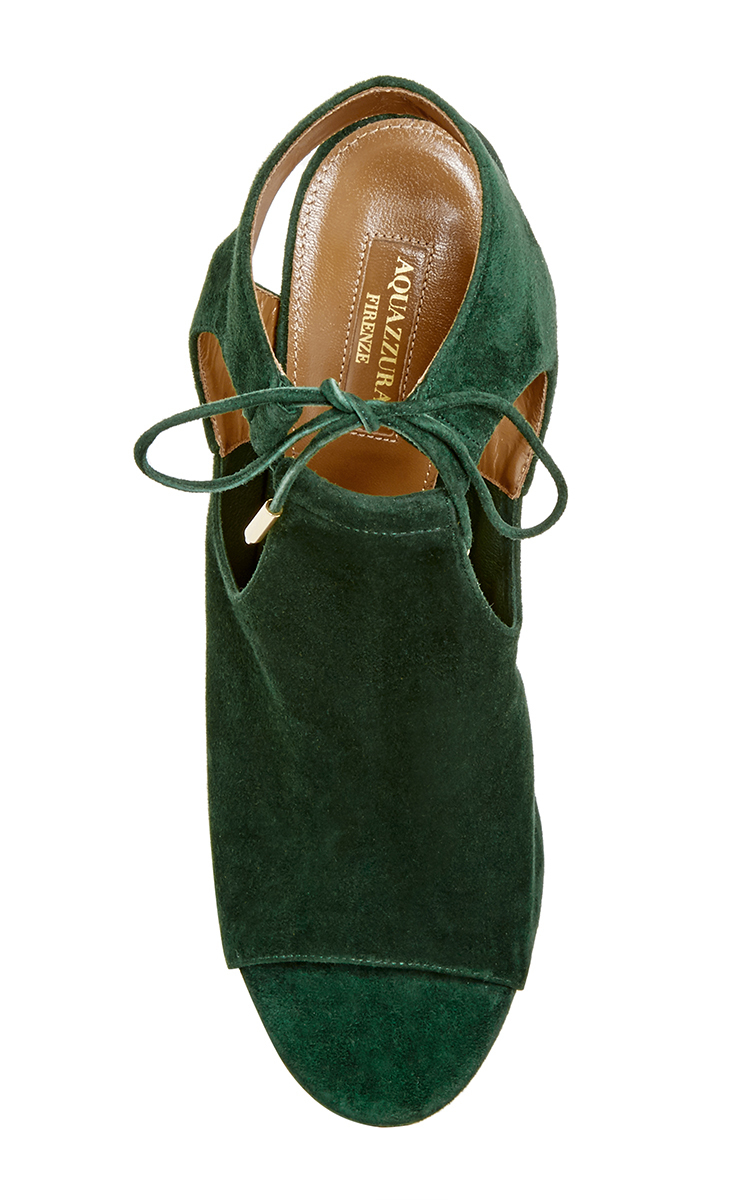 Green Suede Jade Tie Heels By Aquazzura Moda Operandi