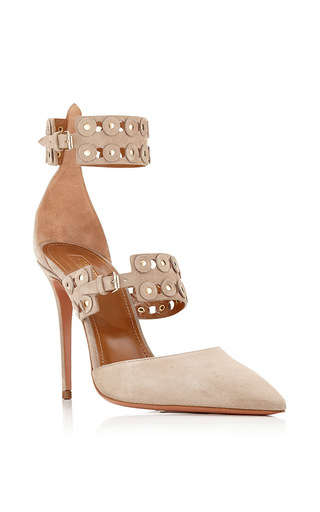 Medium aquazzura nude beige suede rockstar pumps