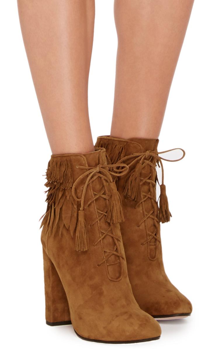 Woodstock Suede Fringed Ankle Boots by Aquazzura   Moda Operandi