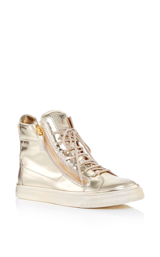 Metallic Mirror Calf Leather High Top Sneakers by GIUSEPPE ZANOTTI Now Available on Moda Operandi