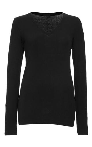 Medium atm black black long sleeve v neck rib shirt