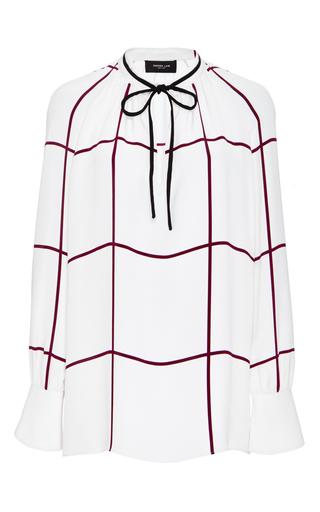 Medium derek lam white silk windowpane check print blouse