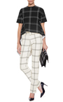 Black Check Short Sleeve Asymmetrical Top by DEREK LAM Now Available on Moda Operandi