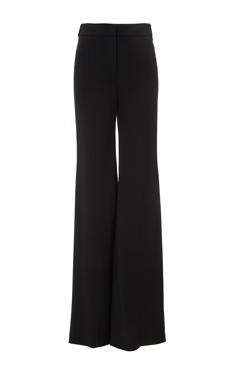 bdbb3d1d60c729 Black High-Waisted Flared Stretched Crepe Trousers by Derek Lam ...