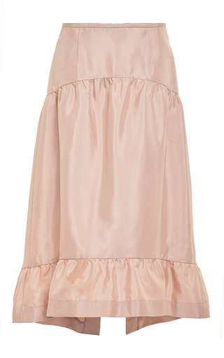 Pink Cotton And Silk Skirt With Ruffle Bottom by MARNI Now Available on Moda Operandi