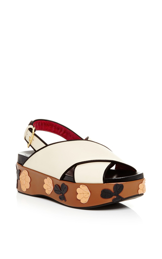 Medium marni white white leather crossover floral decal sandals