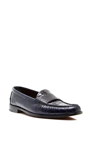 Medium proenza schouler navy navy calfskin croc embossed loafers