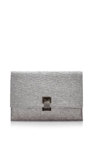Medium proenza schouler light grey calfskin and and wool felt small lunch bag clutch
