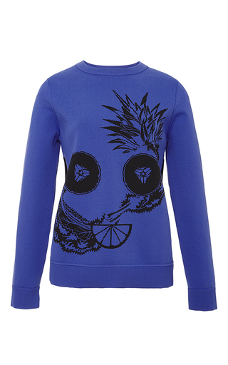Blue Fruit Intarsia Crewneck Sweater by OPENING CEREMONY Now Available on Moda Operandi