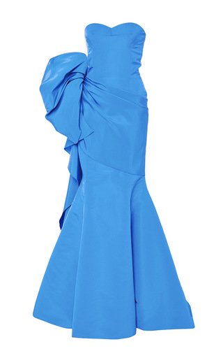 Medium oscar de la renta blue sky blue silk ruffled evening gown
