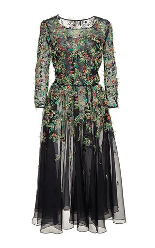 Medium oscar de la renta black black silk embellished tulle dress