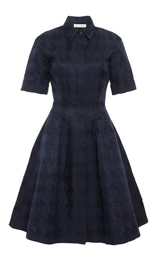 Navy Jacquard Shirt Dress by Oscar de la Renta   Moda Operandi
