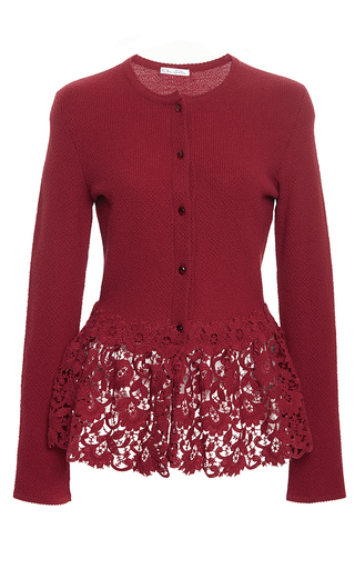 Medium oscar de la renta red dark red virgin wool peplum cardigan