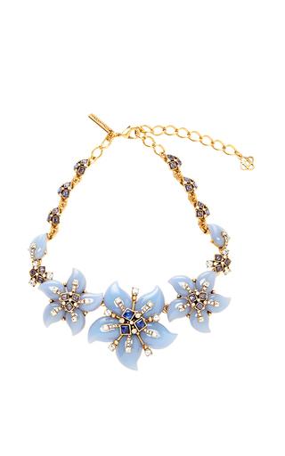 Medium oscar de la renta light blue resin flower necklace