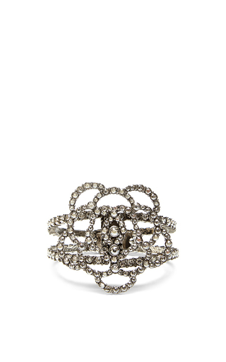 Medium oscar de la renta silver pave flower bracelet
