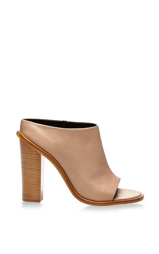 Medium tibi tan leona nappa leather high heeled mules