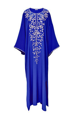 Medium oscar de la renta blue oscar de la renta pacific embroidered caftan with belt  2