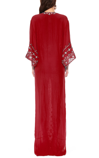 Oscar De La Renta Red Three Quarter Sleeve Caftan by OSCAR DE LA RENTA Now Available on Moda Operandi